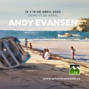 """ANDY EVANSEN</br></br>Curso Intensivo de ACUARELA </br></br>""""Pintando con Andy Evansen"""" @ Artemiranda LAB"""